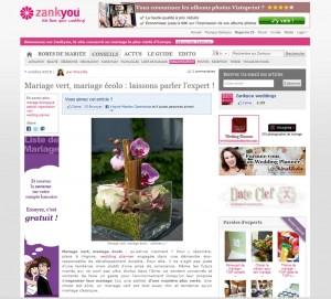 Interview sur le magazine Zankyou – Octobre 2010 : Mariage vert, mariage écolo : laissons parler l'expert !