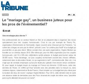 La Tribune – Interview sur le mariage Gay – Janvier 2013