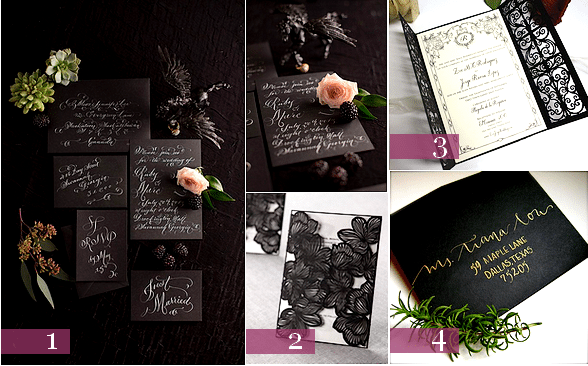 faire part mariage halloween chic
