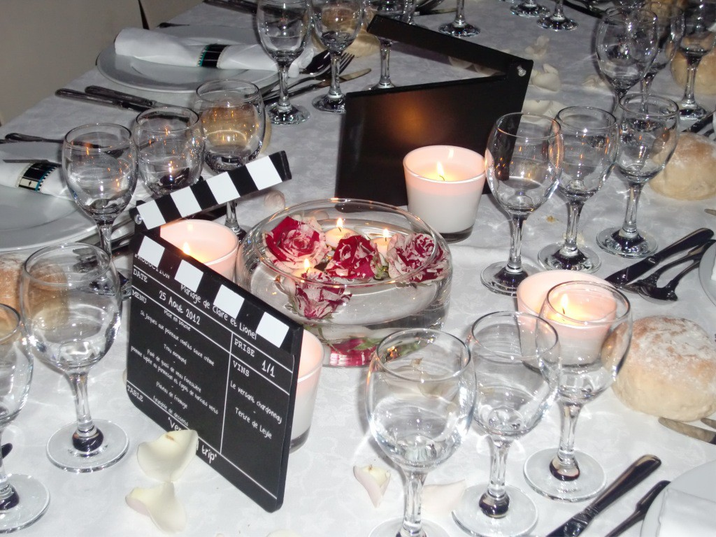 Un mariage sur le th me du cin ma ceremonize - Deco de table theme cinema ...