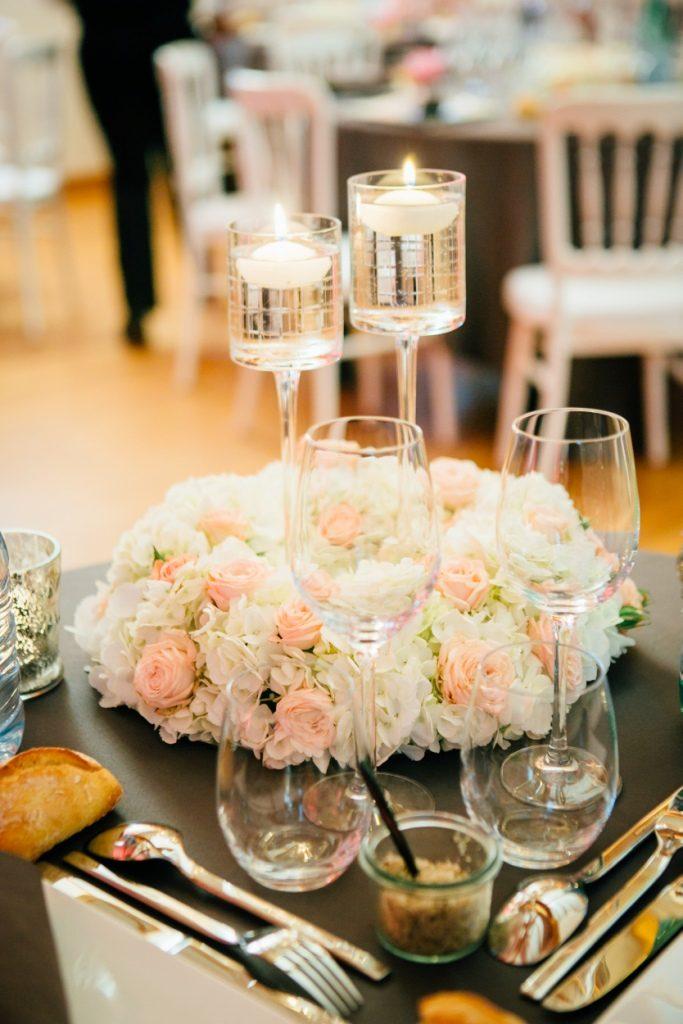romantic-wedding centerpiece pale pink hydrangea