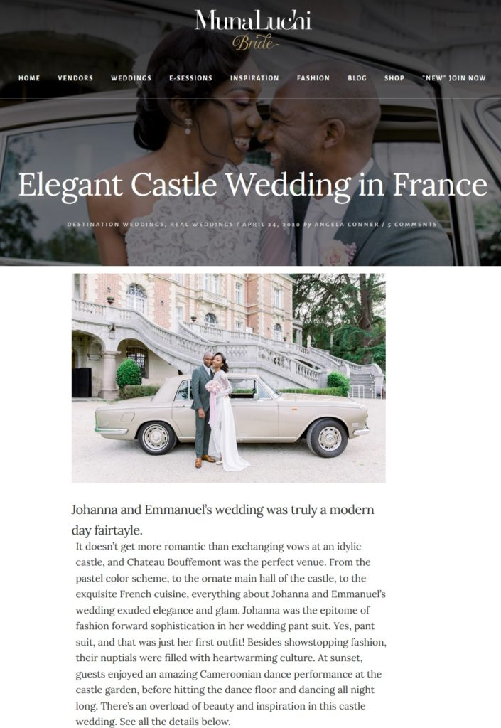 Ceremonize wedding planner Paris featured on MunaLuchi Bride magazine
